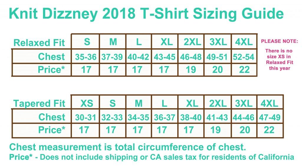 2018 Shirt Chart